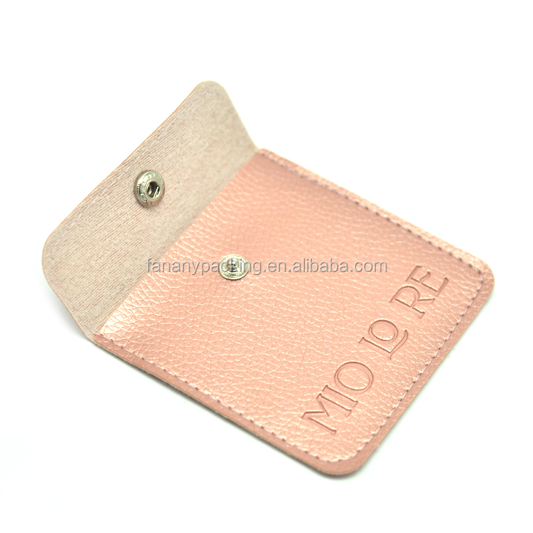 Custom embossed Logo luxury pink envelope jewelry pouch with button