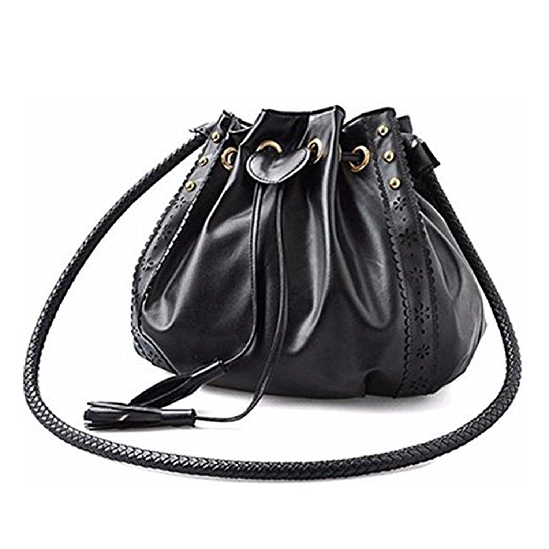 Get Quotations · VIASA Lady Tassels Drawstring Shoulder Bag Tote Purse  Leather Women Messenger Hobo Bags Bucket Bag Retro 0eed552dfb