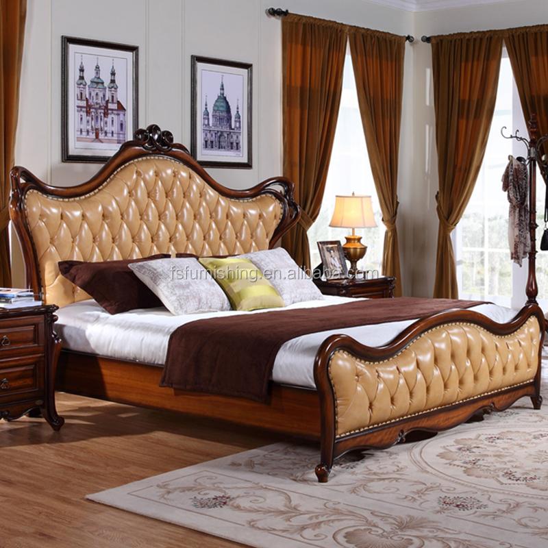 W6801 European Style Solid Wood Italian Leather Luxury Baroque