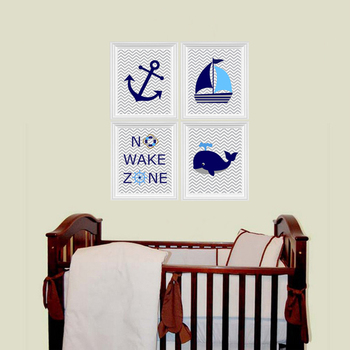 Ocean Nautical Canvas Painting No Wake Zone Sailboat Whale Anchor Nursery Prints Wall Art Pictures