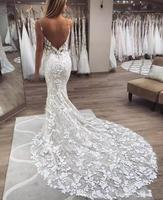 London V Neck Spaghetti Strap Open Back Lace Bridal Mermaid Sexy Wedding Dress