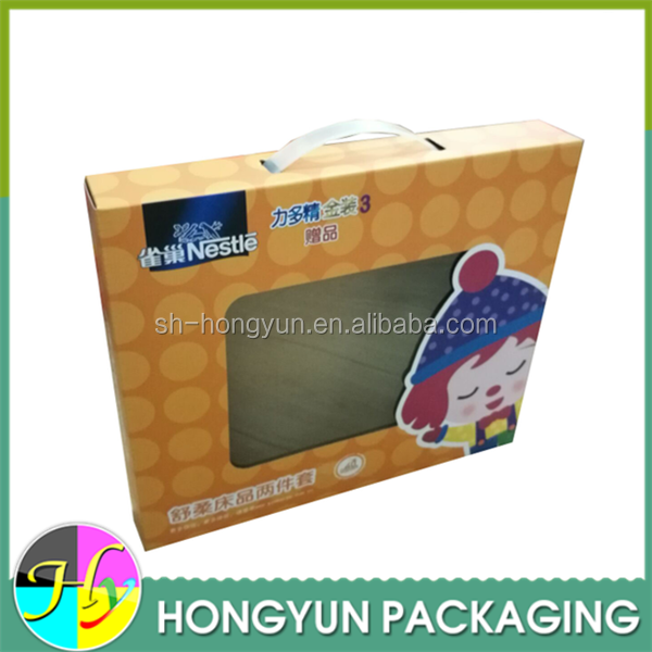 Custom Paper Box With Clear Window Bed Sheet Packaging Design ...