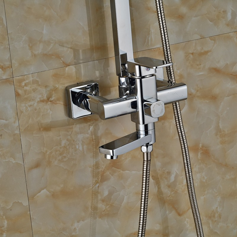 Bright Chrome Wall Mount Square Adjust Height Shower Mixer Taps Single Lever Swivel Tub Spout
