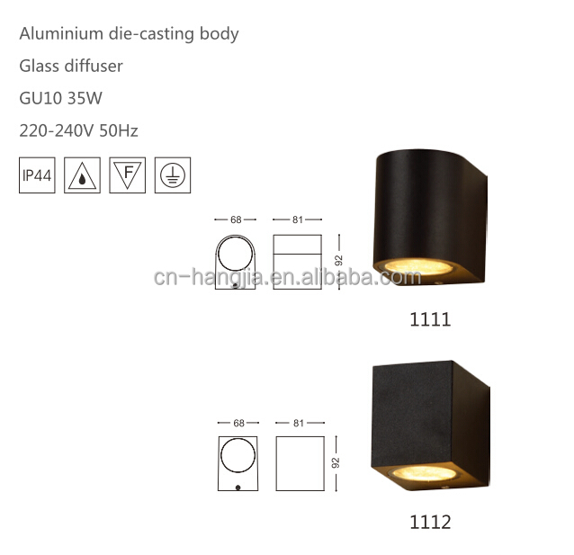 1111 GU10 glass diffuser outdoor led wall light