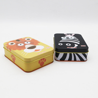 Customized rectangular cookie candy tin box with cute cartoon pattern