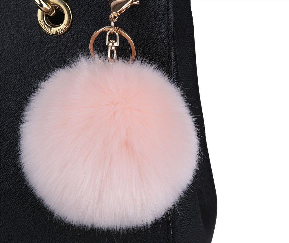 5a2564e6a9d Get Quotations · Minigianni 4 Inches Light Pink Big Fluffy Faux Rabbit Fur  Pom Pom Charm Ball Key Ring