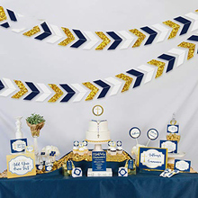 Nautischen <span class=keywords><strong>Party</strong></span> Navy Blau Papier Banner Girlande Gold Glitter Chevron Design Streamer für Baby Dusche <span class=keywords><strong>Bachelorette</strong></span> <span class=keywords><strong>Party</strong></span> Liefert