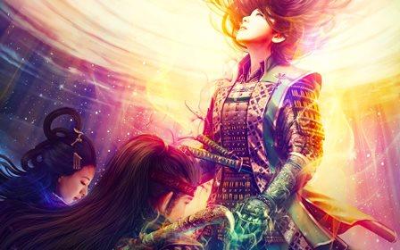 Living room <font><b>home</b></font> wall <font><b>decoration</b></font> fabric poster samurai armor swords magic star warriors <font><b>asian</b></font> oriental katana swords sexy babes