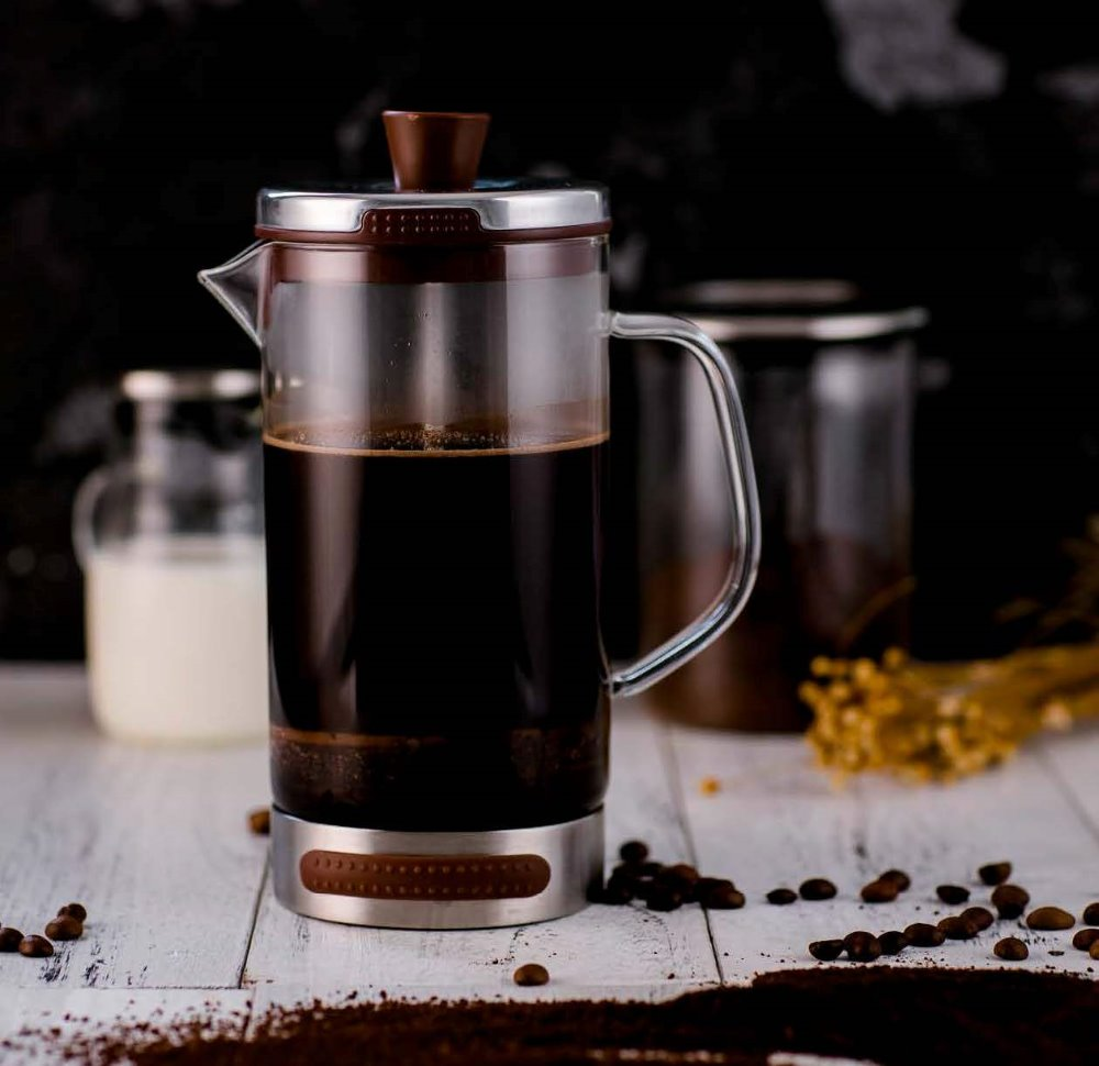 French-Press-Kaffeemaschine aus Borosilicatglas mit 3 Lagenfilter