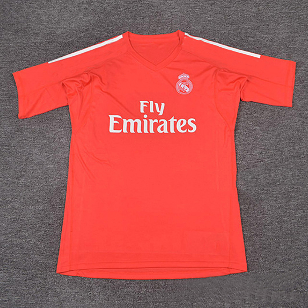 2017 New Real Orange Red Goalkeeper Short Sleeve Goal Keeper Jersey for Madrid Fans