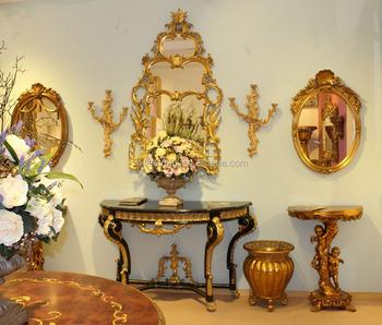 Wohnzimmer Möbel Set Klassische Marmorplatte Konsolen Tisch Mit Gerahmten  Spiegel