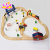 Funny track rail car wooden diy slot toy for children (WITH 51pcs) W04C016