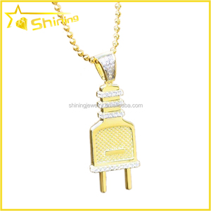 best selling 14k gold plating small piece fashion hip hop jewlery plug socket pendant