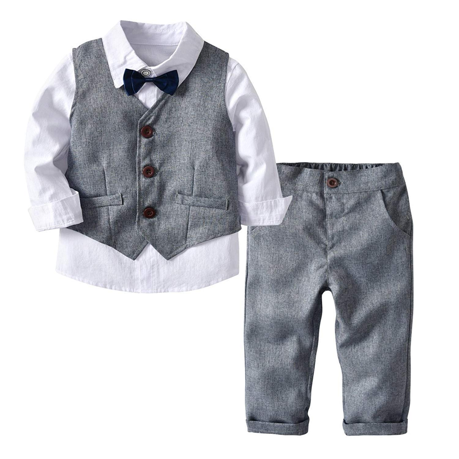 b4ceb5bb630fd Get Quotations · Kid Boy Formal Suit Long Sleeve Shirt with Bow Tie +  Waistcoat + Long Pants 3Pcs