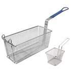 Different size stainless steel pasta/patao chips strainer wire mesh deep fryer basket with silicone handle
