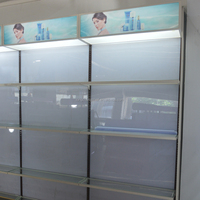 High Quality Retail Store Wooden Showcase Cosmetic Perfume Wall Display Cabinet With Glass Doors