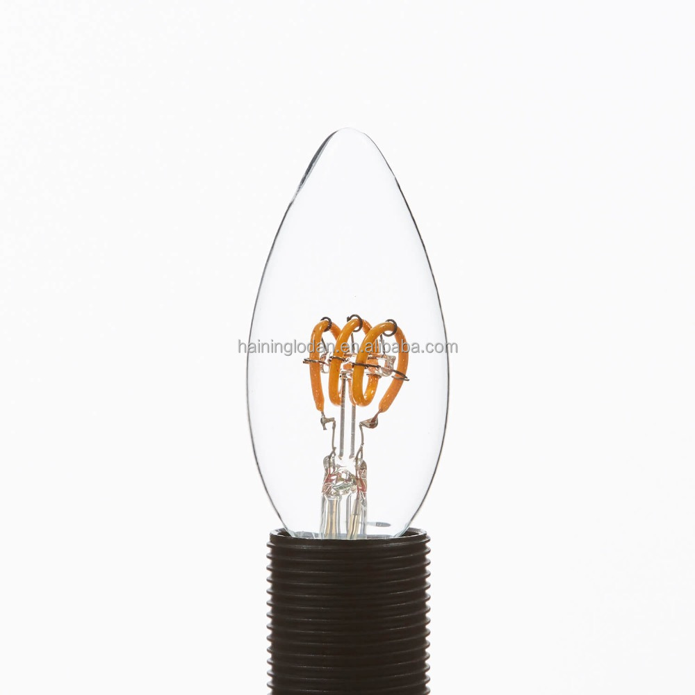 Dimmable Soft Filament LED <strong>Lamp</strong> Candle C35 <strong>Spiral</strong> 3W Clear