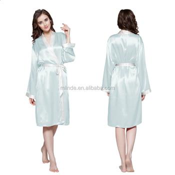 0feb2c4d55 OEM Fashion Silk Fleece Women Long Bride Robe Plain Long Sleeve Waistband  Reverse Trim Pure Sleepwear