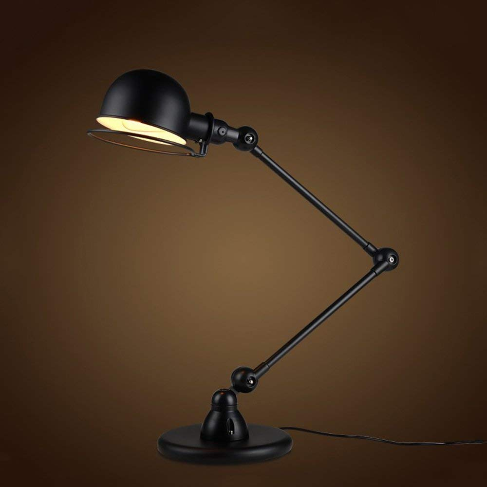 CGJDZMD Industrial Retro Loft Double Mechanical Arm Table Lamp Desk Light Adjustable Swing Arm Table Lamp Desk Bedroom Reading Lighting LED Push Button Switch Table Light