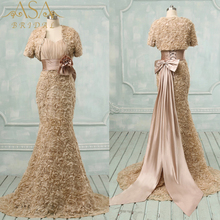 Mode Sheath Champagne Emas Bunga Evening Dresses EVFA-1117 dengan Bolero