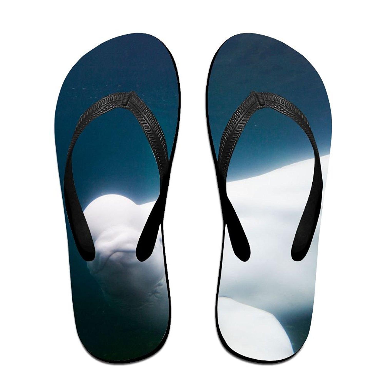 f0528549ac38c Get Quotations · FLJM Unisex Flip Flops Lovely White Whale Ladies Mens  Lightweight Slippers Beach Slippers Shower Sandals
