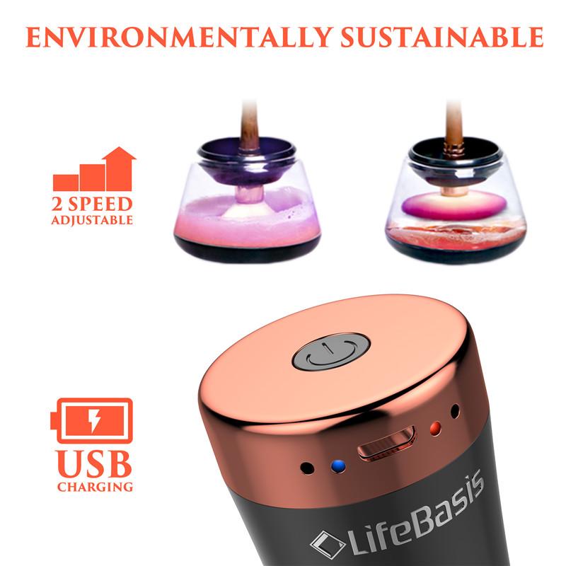 360 di rotazione del USB ricaricabile pulitore di spazzola di trucco