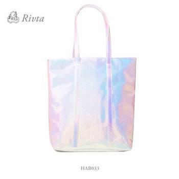 Private Label Fashion Women Shiny Holographic Iridescent Handbag Beach Bag