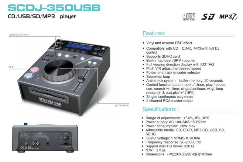 High Quality with Cheap price Perfect Sound System   Professional CD/USB/SD player