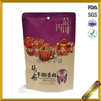 Hot foiled silver sachets/laminate zipper snacks packaging stand up pouches custom printed three-layer laminated alluminium bag