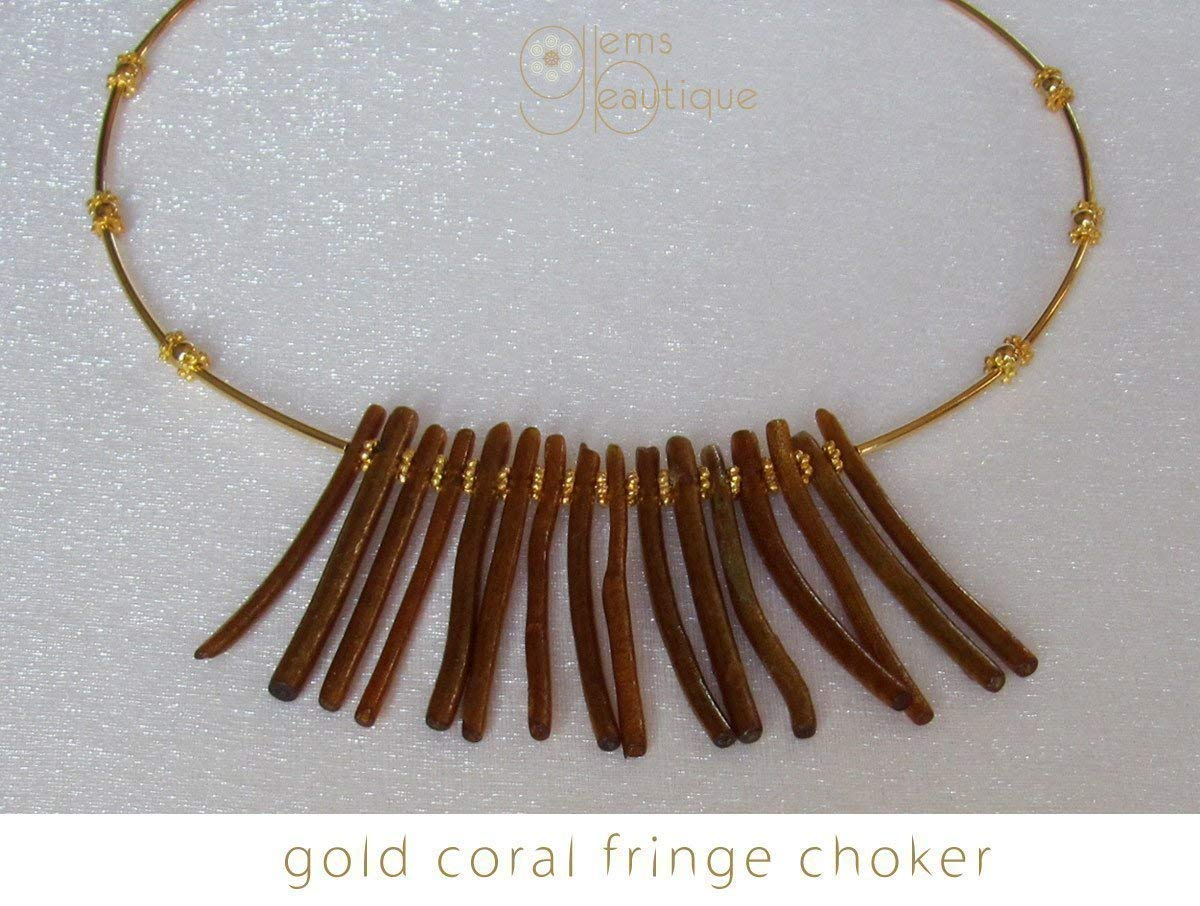 "GemsBeautique Tribal Boho Statement Gold Coral Fringe Fan Choker. Elegant 15"" Fan Necklace."