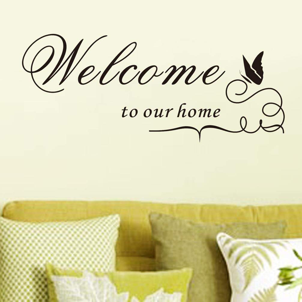 BIBITIME Silhouette Butterfly Saying Wall Decals Welcome to our home Outdoor Sign Quotes Vinyl Wall Sticker for Garden Porch Englsih Words Decor