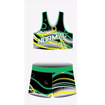 Normzl Wholesale Green Custom Shorts and Bra Cheer Uniform Sublimated Cheer Dance Costume Designs