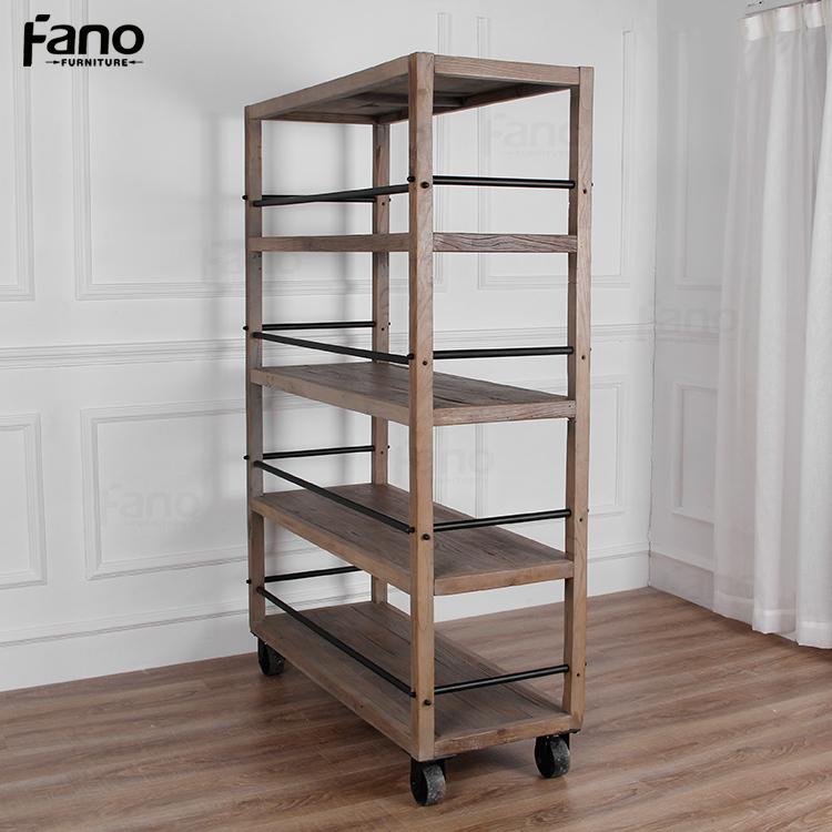 Dise o simple provincial franc s pa s estilo estanter a de madera con ruedas estanter as para - Estanteria con ruedas ...