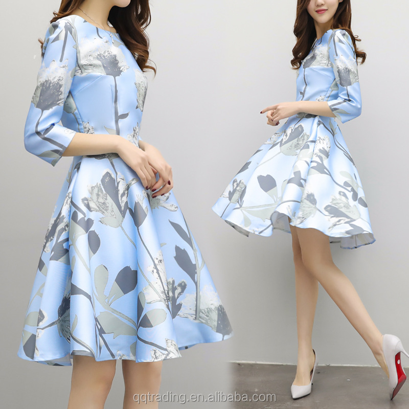 Blue yellow flower girl boat neck dress jaipuri printed polyester summer fashion material wedding dress bridal gown, As photos