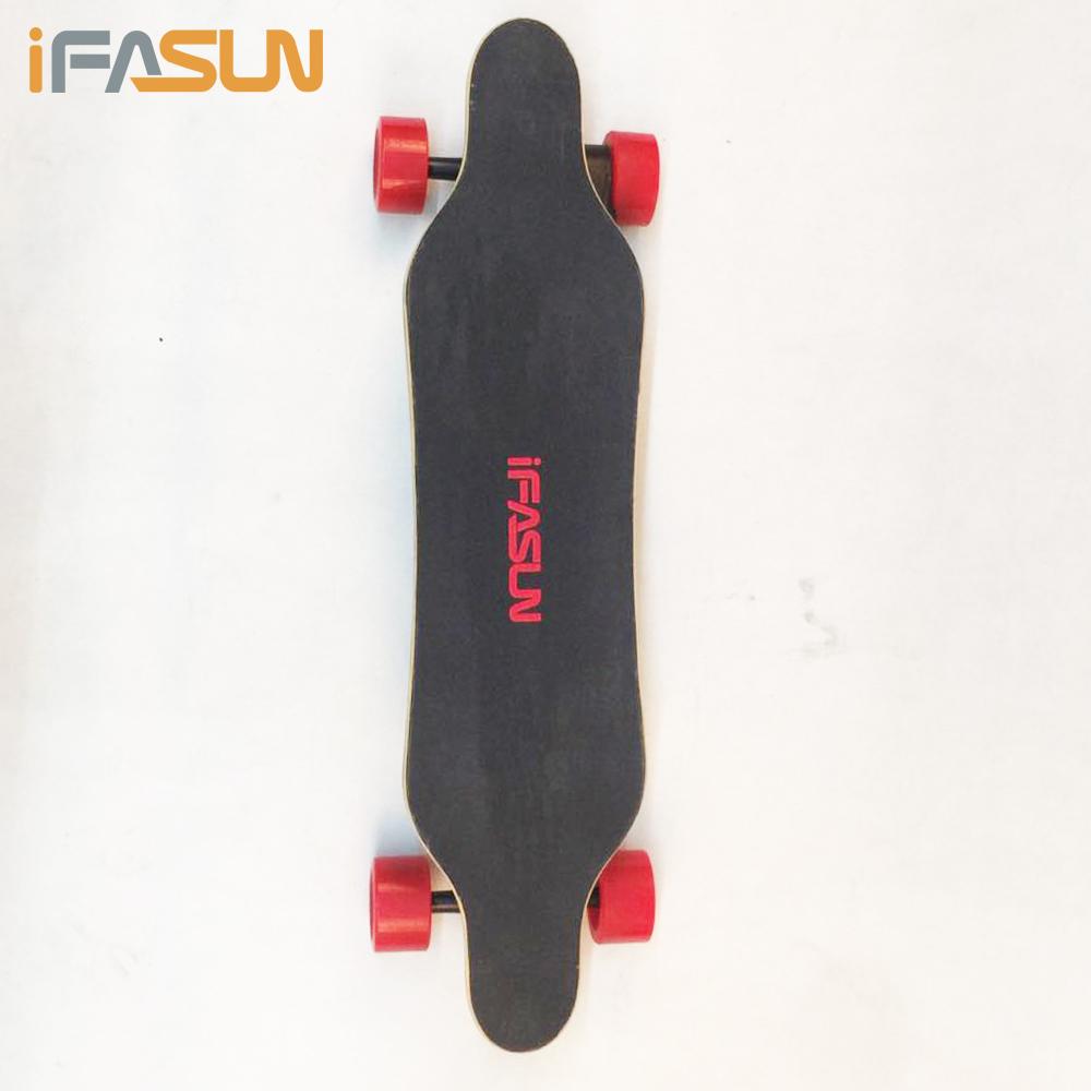 IFASUN KingKong Board 30KMH Electric Skateboard Diy Deck Blank Custom Logo Power Board Electric LongBoard Motor Skateboard, Red;black