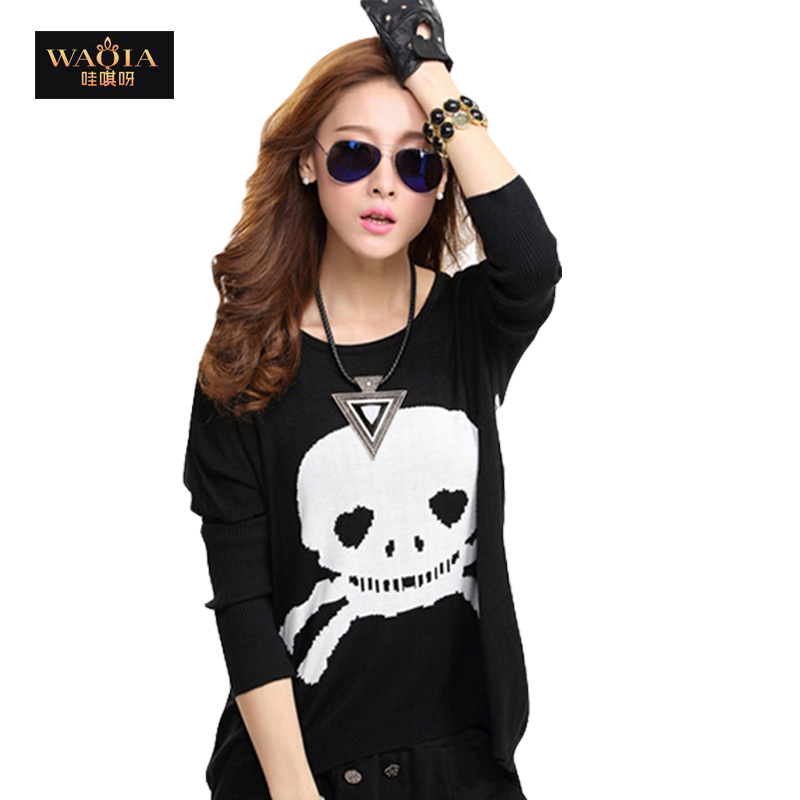 New Hot 2015 Spring Casual Women Cotton T Shirt O Neck Long Batwing Sleeve Printed Skull Loose Slim Fashion Girls Black Tees