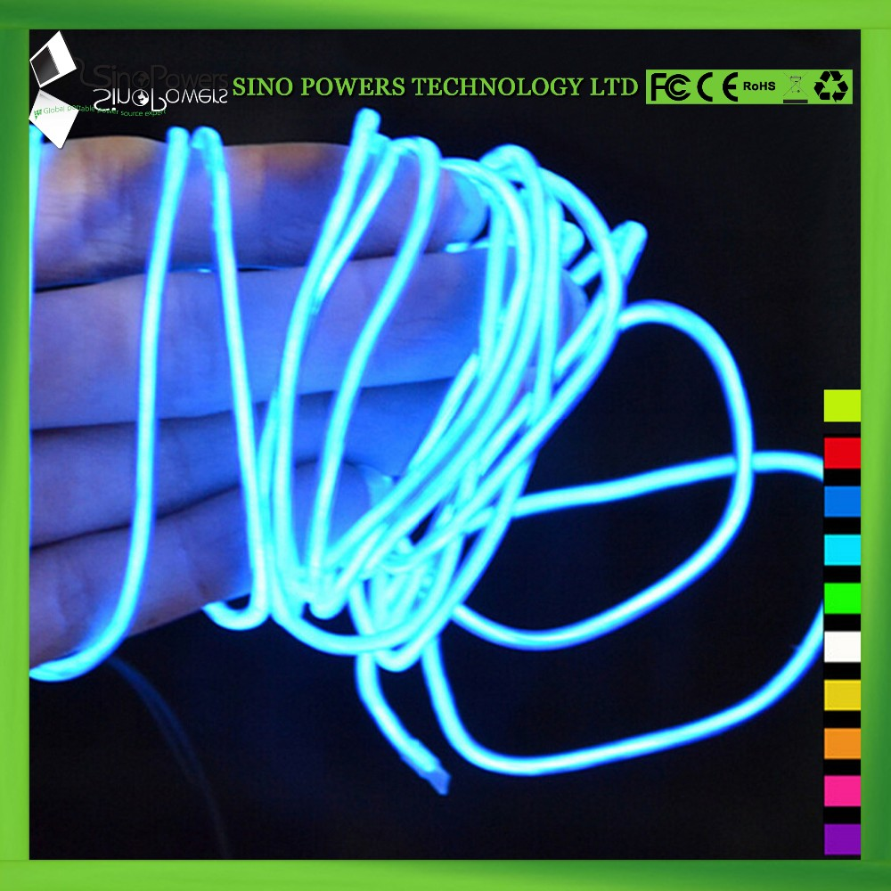Multi color electroluminescent lighting EL wire for clothing
