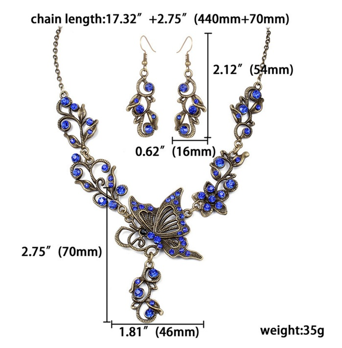 Jewelry set Necklace and Earring set Multi color available shinning and Vintage Good quality ornament with butterfly