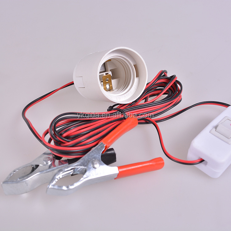 E27 B22 DC lamp holder with 2m cable and 303 switch,battery clamp