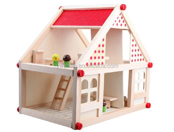 New Design 100 Handmade Natural Fsc Small Toy Wooden House Diy
