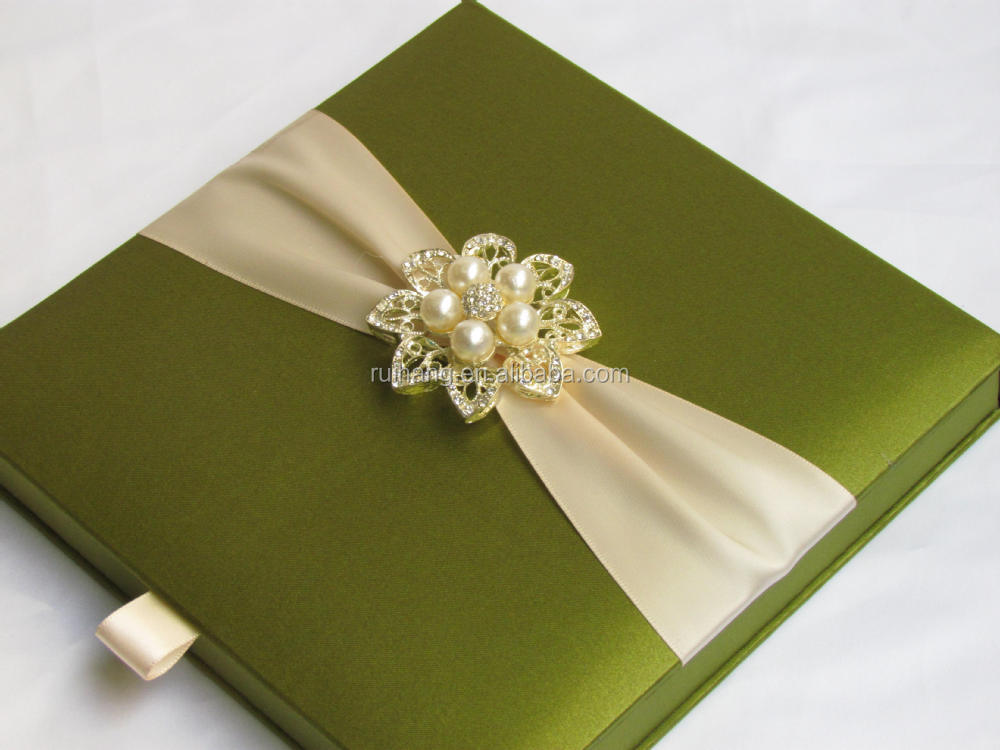 Wedding Invitations In Bulk: Green Luxury Gatefold Silk Box Wedding Invitations