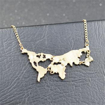355f97bbc147 Especial joyería de moda Plata de Ley 925 Plata mapa forma collar Collar de  colgante