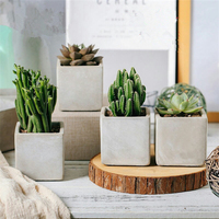 outdoor garden decoration large square concrete flower plant pots