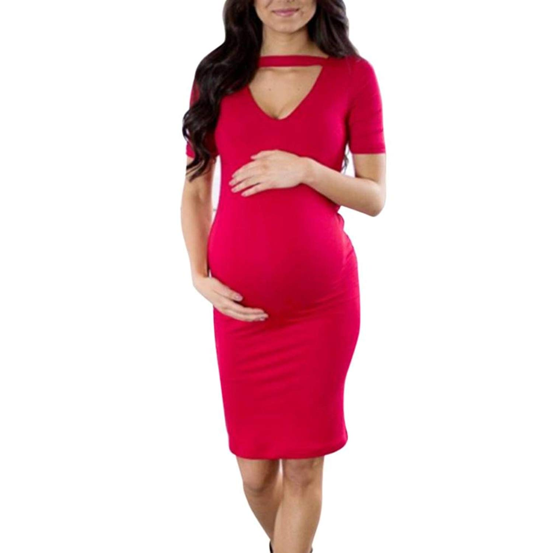 WuyiMC Maternity Dress, Women Solid Maternity Pregnant Short Sleeve Nursing Boho Midi Knee-Length Dress On Clearance