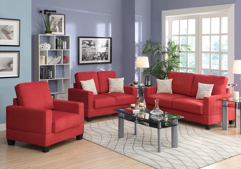 Get Quotations · 1PerfectChoice Modern 3 Pcs Sofa Set Loveseat Chair Accent  Pillows Plush Coral Red Microsuede