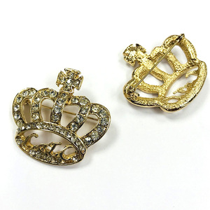 40mm Crystal Rhinestone Diamond Gold Plated Crown Brooch Pin
