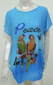 Light Blue Parrot Patterned Latest Long Tops Designs Girls,Girls ...