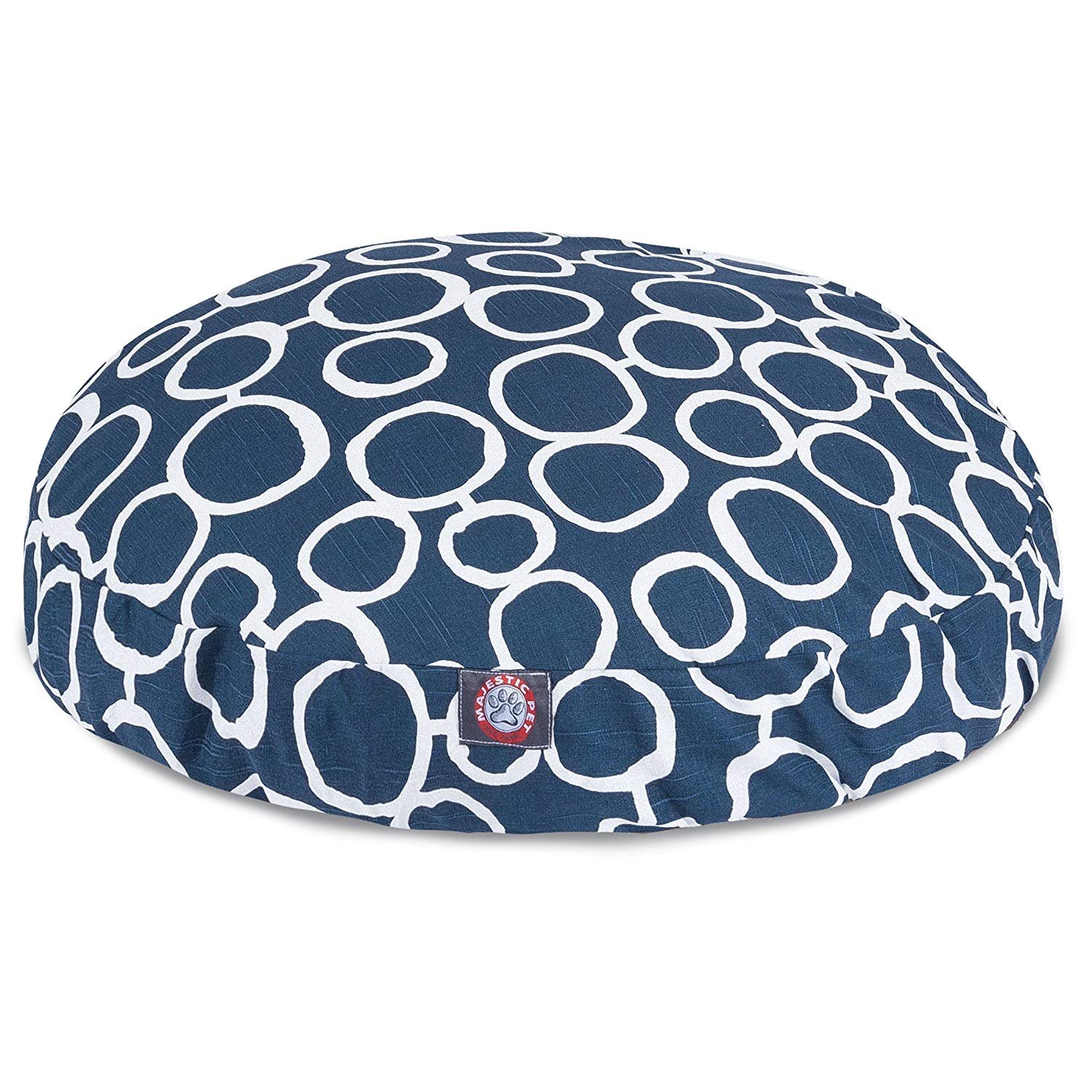CU Large Navy Blue Circular Links Pattern Dog Bed, Beautiful Geometric Circles Print Pet Bedding, Round Shape, Features Water, Stain Resists, Removable Cover, Soft & Comfy Design, Cotton