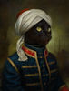 Indian style white hat black cat wearing noble blue clothes living room decoration oil painting in canvas