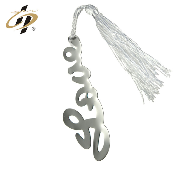 Personalized customization die cut custom silver Letter hollow wedding gift metal bookmark